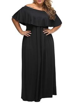 Half Sleeve Fold Over Black Flouncing Maxi Dress on sale only US 38.45 now 378fc8708