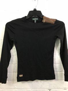 Ralph Lauren Jeans Women Size XS Top Suede Zip Shoulder Elbow Patch Black Brown #RalphLauren #KnitTop #Casual