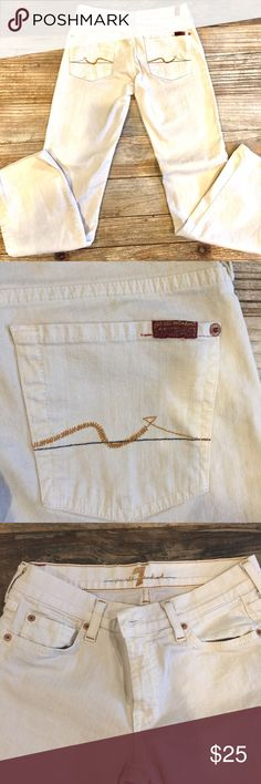 """7 For All Mankind size 28 white jeans 7 For All Mankind size 28 white jeans. Leg 30"""", Rise 8"""". These are more of an off white than a true white in color. They are in great condition, but have a small slight stain on the front (see photo). 7 For All Mankind Jeans"""