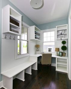 Days like this call for a beautiful mud room. This neighborhood pocket office/mud room combo is perfect. Days like this call for a beautiful mud room. This neighborhood pocket office/mud room combo is perfect. New Homes, Basement Remodeling, Mudroom Laundry Room, House, Multipurpose Room, Home, Home Renovation, Room Remodeling, Mudroom Remodel