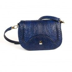 Cross bag in genuine front-cut anaconda leather by GLENI. Made in Italy