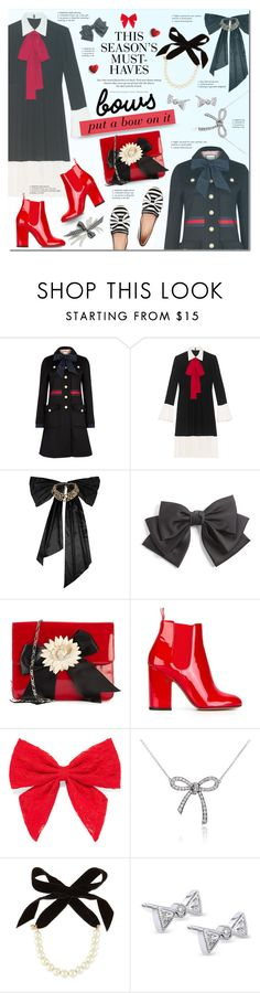 """Put a Bow on it"" by justlovedesign ❤ liked on Polyvore featuring Gucci, Oscar de la Renta, Cara, Moschino, Laurence Dacade, H&M, Carole, Tiffany & Co., Lulu Frost and Kobelli"