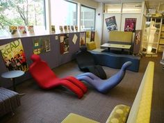 Teen room furniture at Douglas High School Library. The teen group ...