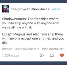 true true you never ship them with anyone else just each other MALEC