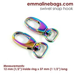 "Swivel Snap Hook:  1/2"" (12 mm) in Iridescent Rainbow (2 Pack)"