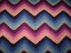 "Handcrafted Afghan Zig Zag Ripple Pattern Single Stitch 58 1/2"" X 34 1/2"""
