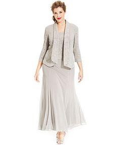 Alex Evenings Plus Size Glitter Jacquard Dress and Jacket Women - Dresses -  Macy s b432bb076