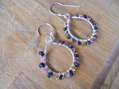 Sterling Silver Tourmaline Dangle Hoop Earrings by OurFrontYard, $27.77