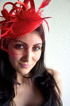 Red Felt Fascinator  Felt Round Sinamay w/ Feathers by EyeHeartMe, $52.00