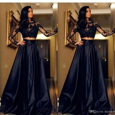 2016 New Cheap Black Two Pieces Prom Dresses Jewel Neck Illusion Long Sleeves Lace Appliques Open Back Cheap Long Party Dress Evening Gowns Prom Dresses 2017, A Line Prom Dresses, Lace Evening Dresses, Sexy Dresses, Dress Prom, Ladies Dresses, Formal Dresses, Bridesmaid Dresses, See Through Prom Dress