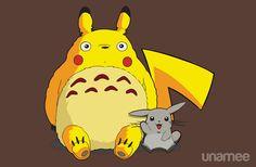 Totorotchu and Pikaro T-Shirt $11 Totoro Pokemon mashup tee at Unamee today only!