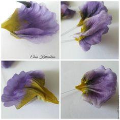 В этом мастер-классе мы сделаем простой, но очень красивый и объёмный цветок — Анютины глазки. Как и в любом цветке из ткани, результат зависит от самой ткани. Можно сделать совсем маленькие 'анютки', к примеру, как наполнение венка или даже букета, соответственно взяв ткань самую нежную и тонкую — шифон, органза, эксельсиор. Или, как в моем случае, одиночный цветок с креплением.