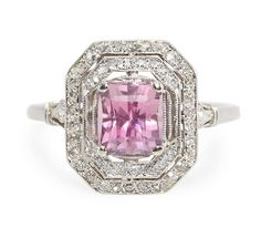 Artful Finesse: Pink Spinel Diamond Ring - The Three Graces