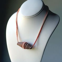 Striped Salmon ... Necklace . Beadwoven . Funky . Handmade Leather Bead . Ndebele Rope . Pink . Coral . Frosted . Oversized . Large. $39.00, via Etsy.