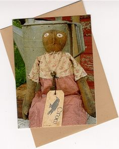 Primitive Note Cards Folk Art Greeting Blank Doll Black Crow OFG Team Extreme Mammy