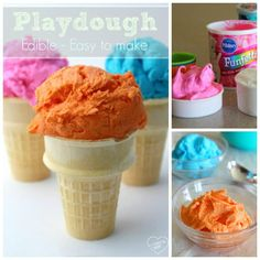 How to make edible playdough with just 2 ingredients!! So easy and so much fun with kids.