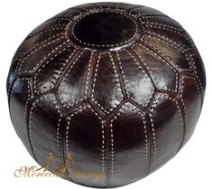 Brown Ball Leather Pouf