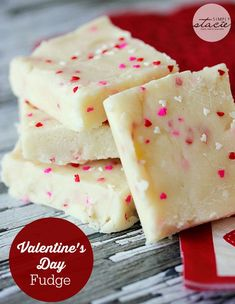 Valentine's Day Fudge - creamy, sweet and made with cake mix! No candy thermometer required.