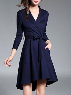 Elegant V Neck Long Sleeve with Sash Hi-Lo Mini Dress