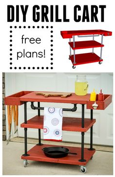 Learn how to build this industrial looking bar cart using these free plans.  Great diagrams to help you along!