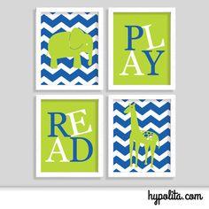 Playroom Art - Chevron Elephant and Giraffe Print - Set of Four 8x10 Prints - Chevron Print - Kid Room - Children Play