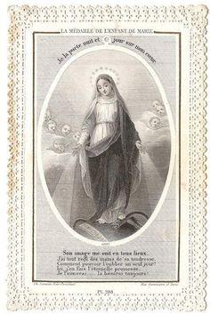 Virgen María con angelitos papel católico francés antiguo cordón Santa oración tarjeta, grabado, regalo de la Catholic, bendita madre
