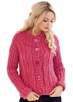 Ailish by DY Choice. With its modern shape, chunky textures and bright shade of yarn, this jacket is a youthful take on traditional Aran knitwear. Chunky Cardigan, Lace Cardigan, Crochet Jacket, Jacket Pattern, Knitting Patterns, Free Knitting, Knitwear, Girl Fashion, Jackets For Women