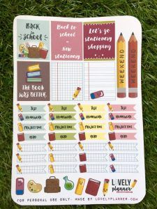 Download this free printable back to school planner stickers: Pdf and print&cut silhouette files included! More planner freebies on lovely planner