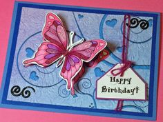 """Card crafted by Linda Osterwise of All Things Creative and Fun, using """"Big Butterfly"""" digi stamp by Diana Garrison."""