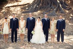 Champagne bridesmaids but matching and navy groomsmen to match his dress blues :)