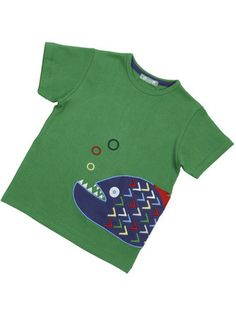 Boys organic cotton piranha applique green t-shirt made from super-soft organic cotton and machine washable