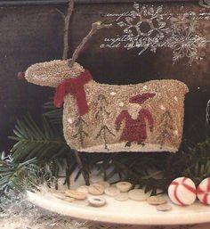 Primitive Folk Art Punchneedle Tree Ornament by PrimFolkArtShop, $11.75