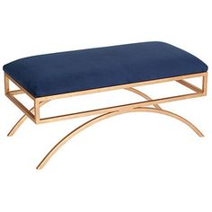 Troy Velvet Bench Blue Entryway Bench