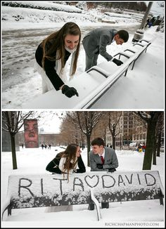 Rita and David's winter wedding - Writing their names on a snow-covered bench in Chicago's Millennium Park. www.richchapmanphoto.com