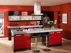 Asian Red Kitchen Cabinet