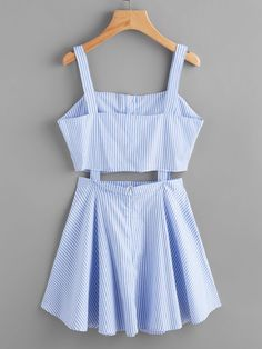 Shop Stripe Single Breasted Cut Out Cami Dress online. SheIn offers Stripe Single Breasted Cut Out Cami Dress & more to fit your fashionable needs. Teen Fashion Outfits, Cute Fashion, Girl Fashion, Fashion Dresses, Trendy Fashion, Cute Summer Outfits, Cute Casual Outfits, Casual Dresses, Summer Dresses