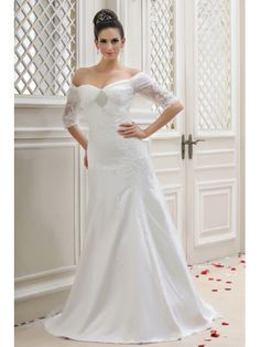 Off-the-shoulder Half-Sleeve A-Line Embroidery Taline's Wedding Dress WD-11036