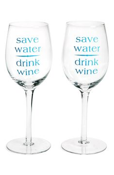 DCI 'Save Water, Drink Wine' Glasses