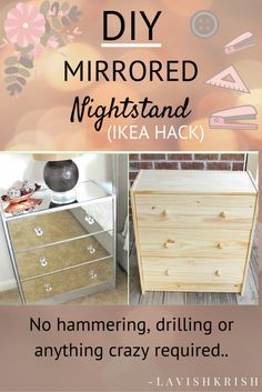 DIY Mirrored Nightstand | No hammering, drilling etc.. required