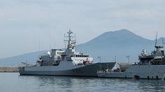 Porto di Castellammare di Stabia; Ship Orione and Mount Vesuvius