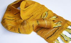 Christmas for him, felted scarf, neck warmer, mustard, yellow, green, man's fashion, winter clothing, wool striped scarf, unisex fashion