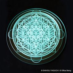"Sacred Geometry Glass Design / ""Archangel Metatron Code"" / Clear Glass, Made in Japan / Designed by SHIHOLI YAGUCHI"