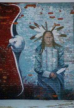 Wall mural painted by the famous Blackfoot Indian artist Cha' Tullis - Hominy, Oklahoma by Sirius_Photography on Flickr.
