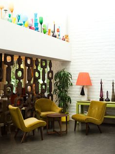 Jonathan Adler's sculptural mid-century furniture picks and color palette is beyond fabulous at the Parker