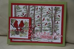 Cardinals Christmas card (Northwoods Stamps?)
