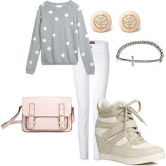 Keep things casual & cute with polka dots and sneaker wedges.