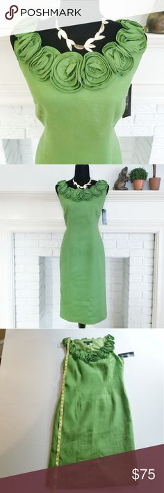 """NWT Lafayette 148 Green Linen Floral Dress 6 Luscious Lafayette 148 NY green linen sheath dress with beautifully constructed floral rosettes adorning the neckline. Sleeveless, side zipper, movement vent in back, darts for better fit. Fully lined. Label says size 6, but my measurements say this is a generously cut dress, with room to move. 100% linen, dry clean only. Approximate measurements are: 41"""" long, waist 32"""", armpit to armpit 18"""". NWT. Lafayette 148 New York Dresses Midi"""