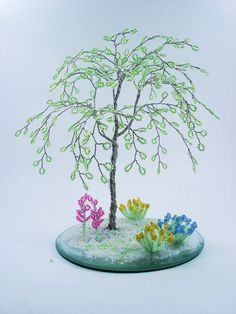 Fresh Green Beaded Willow   Home Decor / Desktop by wireforest, $49.00