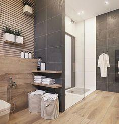 Modern bathroom design 226165212521288179 - An Organic Modern Home With Subtle Industrial Undertones Source by Dark Gray Bathroom, Grey Bathroom Tiles, Grey Bathrooms, Beautiful Bathrooms, Small Bathroom, Master Bathroom, Bathroom Ideas, Bathroom Modern, Contemporary Bathrooms