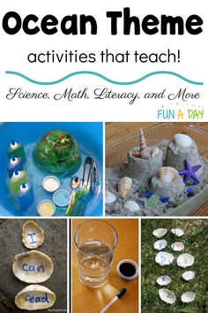 An exhaustive list of ocean-themed activities for preschool and kindergarten! It's broken into categories so it's easy to find what you want, whether it's arts and crafts, sensory bins, science, play doughs, math, literacy, or snacks that are all ocean-themed! Summer Preschool Activities, Educational Activities For Preschoolers, Ocean Activities, Preschool Arts And Crafts, Outdoor Activities For Kids, Preschool Themes, Math Literacy, Ocean Themes, Sensory Bins